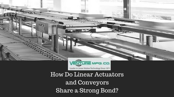 linear actuators in conveyor system